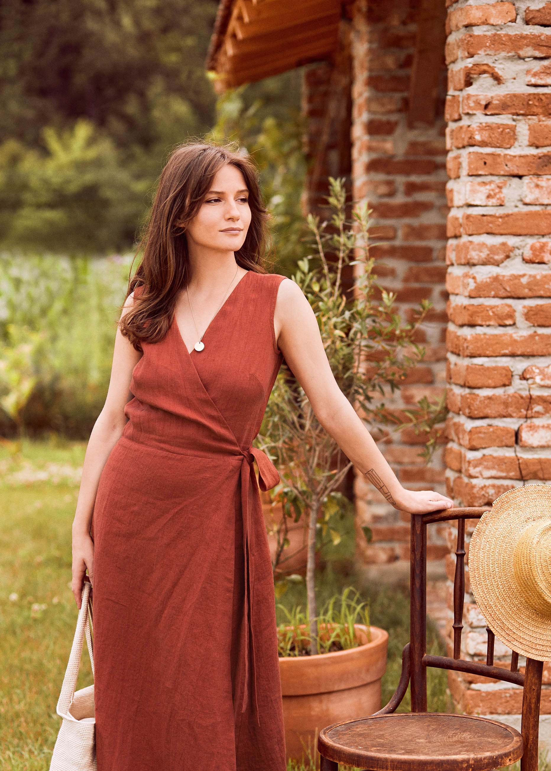 Chloe Wrap Dress Rust
